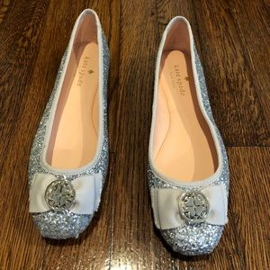 Silver Glitter Kate Spade Flats - Size 7
